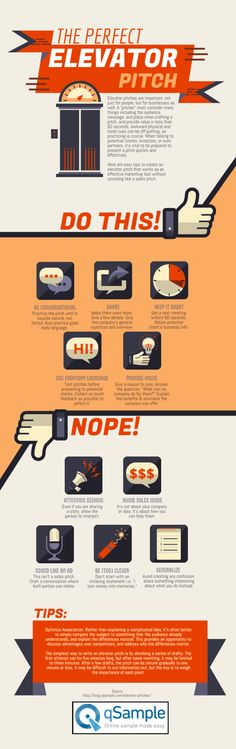 Perfect Elevator Pitch [by qSample -- via #tipsographic]. More at tipsographic.com