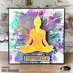 Gorgeous card created by Mark Alexander featuring our beautiful yoga stamp with our 'Atomic Flower' stencil. Mark Alexander, Image Stamp, Beautiful Yoga, Journal Pages, Birthday Cards, Mindfulness, In This Moment, Gallery, Projects