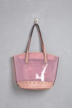 A faux leather trim tote bag featuring dual top handles fd0c354465c5
