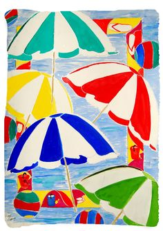 Vertical Colorful beach umbrellas throw blanket from my original art