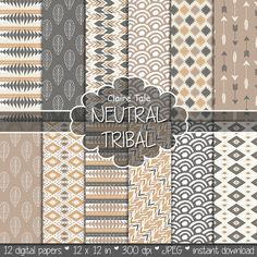 "Tribal digital paper: ""NEUTRAL TRIBAL"" with tribal patterns and tribal background, arrows, feathers, leaves, chevron in beige and brown"