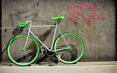 silver and green fixie