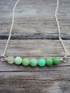 Silver Sea Green Necklace Sterling Silver Wire by IvysBoutique, $32.00