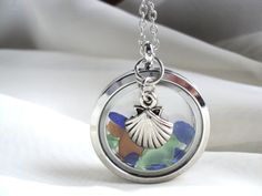 Floating Memory locket filled with Lake Erie beach glass on adjustable chain - pinned by pin4etsy.com