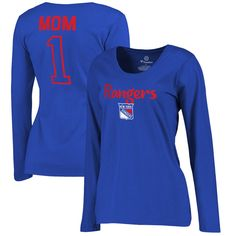 New York Rangers Fanatics Branded Women's Plus Sizes Number 1 Mom Long Sleeve T-Shirt - Royal