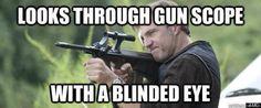 Looks through gun scope