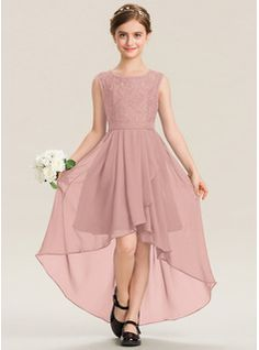 A-Line Scoop Neck Asymmetrical Chiffon Junior Bridesmaid Dress With Bow(s) Cascading Ruffles (009191718) - JJ's House Girls Fashion Clothes, Girl Fashion, Fashion Dresses, Clothes For Women, Skirt Outfits Modest, W Dresses, Junior Bridesmaid Dresses, Junior Dresses, Bridesmaids