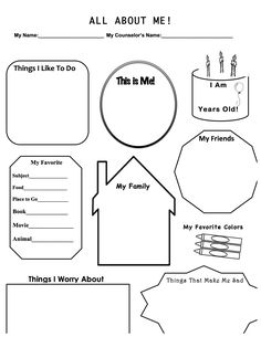 This is a work sheet I designed for when I have a first therapy session with a child. It allows for me build rapport, get to know the basics, and to explore a couple in-depth items, such as fears and worries. Hope you enjoy and find this useful!