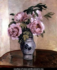 A Vase of Peonies by Camille Pissaro