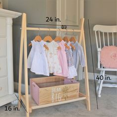 Clothing Rack Nursery Decor Dress Up Station Kids Clothing Storage FOLDS UP 4026 in Tall Wooden Clothes Rack with Canvas Storage Shelf Kids Clothes Storage, Dress Up Storage, Kids Clothing Rack, Clothing Storage, Clothing Organization, Bedroom Organization, Dress Up Wardrobe, Dress Up Outfits, Kids Outfits