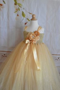 All that Glitters is Gold flower girl tutu by TutuSweetBoutiqueINC, $70.00