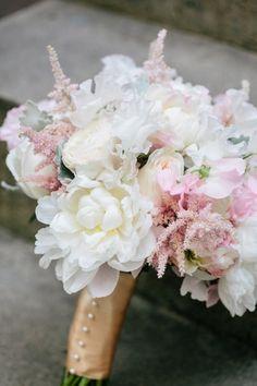Blush + White Bouquet // Peonies, Astilbe, Garden Roses, Dusty Miller, Sweet Peas // Dana Cubbage Weddings // Charleston SC Wedding Photographer // www.danacubbageweddings.com