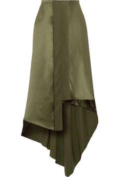 Elizabeth and James | Sydney asymmetric silk-satin midi skirt | NET-A-PORTER.COM