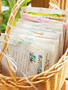 """Create goody bags from old story book pages, then fill them with gummy """"bookworms"""" for a fun way to wrap up a library party."""