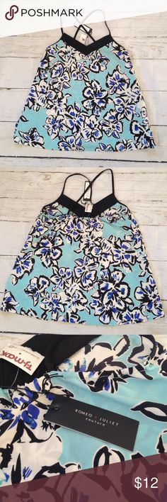 XS Romeo + Juliet Couture Tank NWT Size XS, NWT, soft and feminine.  Light, thin material with cross cross straps.  Pretty flower design. Romeo & Juliet Couture Tops Tank Tops