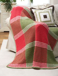 This timeless knit blanket pattern features a classic star stitch design in a festive plaid color layout. Grandma's Favorite Holiday Afghan is sure to bring Christmas cheer to any room of your home. Christmas Knitting Patterns, Knitting Patterns Free, Free Knitting, Crochet Patterns, Free Pattern, Simple Knitting, Knitted Afghans, Knitted Blankets, Knitted Baby