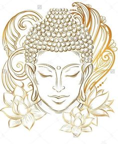 Illustration of Buddha head - elegant vector illustration. The symbol of Buddhism, spirituality and enlightenment. Tattoo, illustration, printing on fabric vector art, clipart and stock vectors. Art Buddha, Buddha Drawing, Buddha Painting, Buddha Head, Buddha Tattoos, Buddha Tattoo Design, Buddha Lotus Tattoo, Colombe Tattoo, Art Sketches