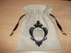 Pochette plate à coulisse avec impréssion en flex : Etuis, mini sacs par les-p-tites-zettouilles