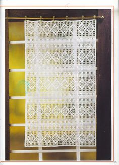 Crochet Knitting Handicraft: Curtains with charts. Lots of beautiful curtains in different language. Crochet Home, Irish Crochet, Crochet Motif, Crochet Patterns, Crochet For Kids, Crochet Curtains, Lace Curtains, Magazine Crochet, Fillet Crochet