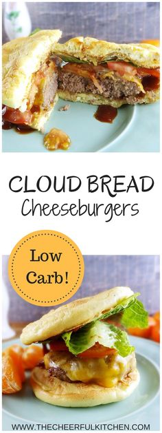 Cloud Bread Cheeseburgers are practically no carb and seriously delicious! From The Cheerful Kitchen