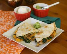 Butternut Squash, Spinach and Mushroom Quesadillas
