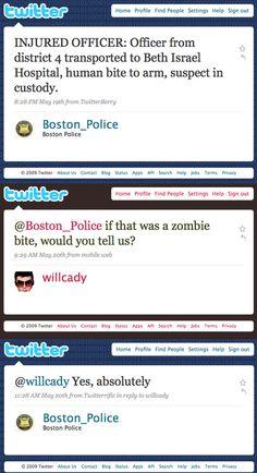"""Boston Police Zombie Defense • """" ...Thank you Boston's finest."""" • via BuzzFeed"""
