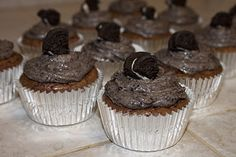 Brownie Cupcakes with Oreo Frosting