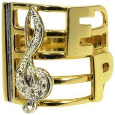 Elvis' Treble Clef Gold and Diamond Ring Gifted to Sammy Davis, Jr.