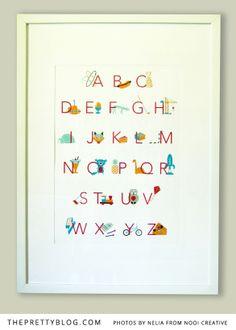 Colourful alphabet wall art for kids room | Design & Photos: Nelia from Nooi Creative