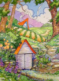 """Daily Paintworks - """"The Old Spring House Storybook Cottage Series"""" - Original Fine Art for Sale - © Alida Akers"""