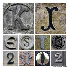 Name and Est. Date Wall Art - plus a link to the site where the letters and numbers came from.  So many possibilities!