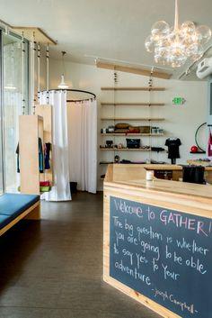 hot yoga studio design  mckenzie towne reception area