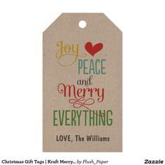 Christmas Gift Tags | Kraft Merry Everything Pack Of Gift Tags.  Artwork designed by Plush Paper Design