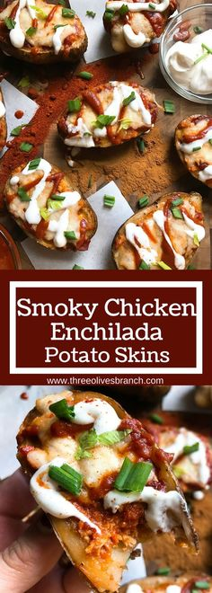 Make each component in advance for fast assembly! All the flavors of smoky chipotle enchiladas in potato skin form. Make your sauce mild or spicy. Perfect for game day as an appetizer or snack! Great football food as they are portable and full of flavor. Smoky Chicken Enchilada Potato Skins | Three Olives Branch | www.threeolivesbranch.com