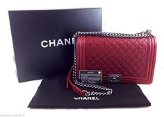 Authentic Chanel Red Caviar Medium Boy Bag From Fall 2014, Full Set #CHANEL #ShoulderBag $4300 OBO