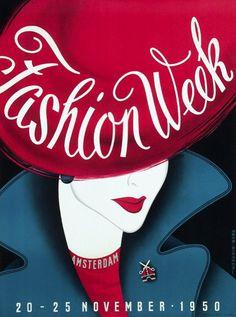 Amsterdam Fashion Week November 1950, illustration Reyn Dirksen