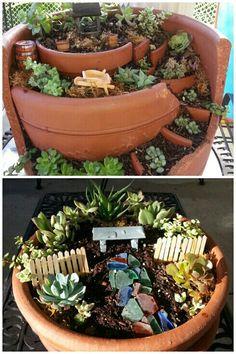 My first DIY succulent gardens.