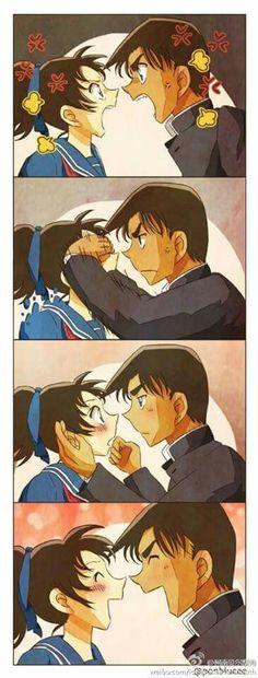 Aww Heiji x Kazuha Detektif Conan, Detective Conan Wallpapers, Magic Kaito, Case Closed, Cute Anime Couples, Cute Love, Doujinshi, Chibi, Romance