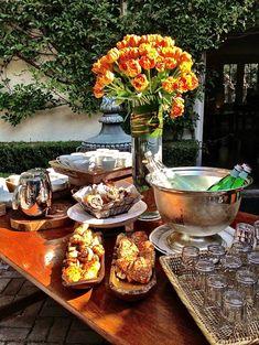 Breakfast buffet table