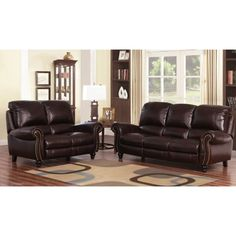 Abbyson Cambridge Burgundy Leather Pushback Reclining Loveseat And Sofa Set