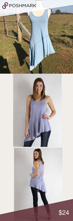 Baby Blue Asymmetrical Tank A gorgeous asymmetrical, boutique tank that is in EUC! Tank is from a boutique called Utopia. No stains, holes, or tears. Size Small.   Color: baby blue Utopia Tops Tank Tops