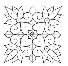 Ornaments, charts and images for applications. Quilting Templates, Quilting Projects, Quilting Designs, Paper Embroidery, Embroidery Patterns, Quilt Patterns, Stencil Designs, Applique Designs, Coloring Book Art