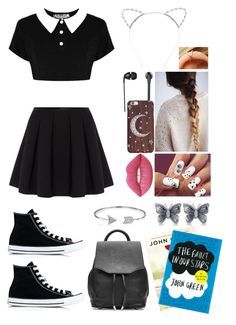 """""""Day 4: day at school"""" by creative-with-fashion ❤ liked on Polyvore featuring Killstar, Polo Ralph Lauren, Lipsy, Converse, rag & bone, Bling Jewelry, Allurez, Lime Crime and The Sharper Image"""