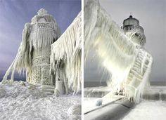 Faro congelato Michigan - gennaio 2014