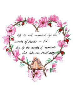 Valentines Day Doves Pink Magnolia Pomegranate by KBlossoms Happy Birthday Best Friend Quotes, Birthday Wishes, Sister Birthday, Flower Poem, My Flower, Cherry Quotes, Valentine Day Love, Valentines, Love One Another Quotes