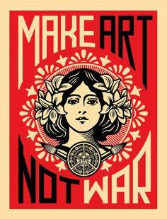 Art Poster: Make Art Not War Print By Shepard Fairey Urban Flower Girl Obey Famous Poster