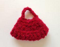 Handmade Barbie Clothes Red Purse Hobo Tote Handbag by All4U, $3.50