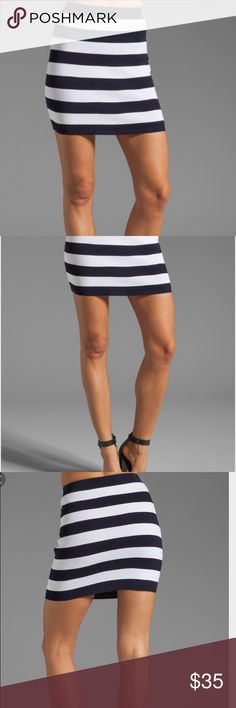 """Theory Dasher Kendine Mini Skirt Never been worn Theory """"Dasher"""" """"Kendine"""" knit Mini Skirt. Navy and white striped knit skirt is similar to a bandage skirt bc of the knit fabric. The white is definitely bright white but the pic doesn't show it well. Size is Theory P which is their version of XS. Theory Skirts Mini"""