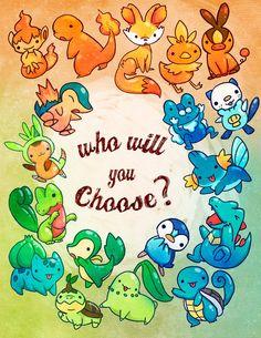 Pokemon starters artwork by Michelle Simpson