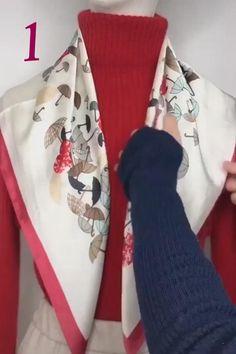 Ways To Tie Scarves, Ways To Wear A Scarf, How To Wear Scarves, Scarf Knots, Diy Scarf, Scarf Ideas, Tie Knots, Tie A Scarf, Hair Wrap Scarf